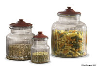 "Accent Jars w/lid 9""  Red"