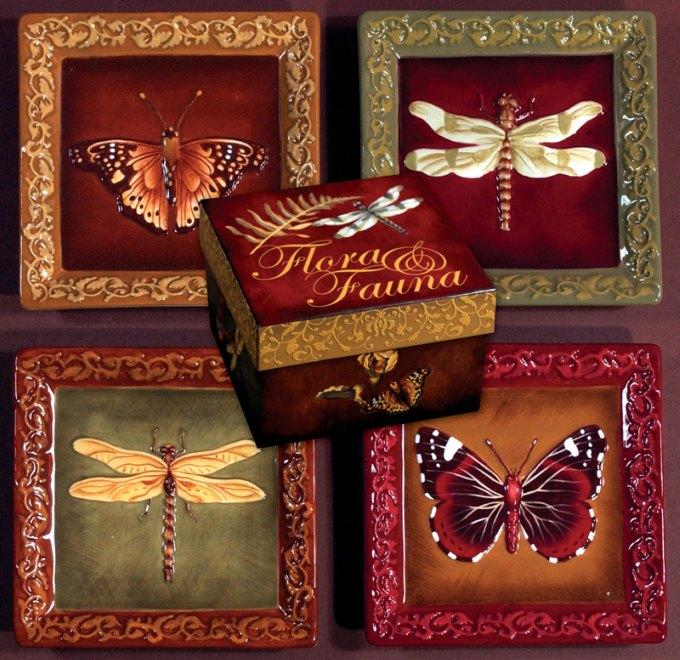 """Floral & Fauna mini Plates - 4 1/2"""""""