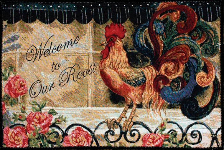 Rooster Design Accent Rug