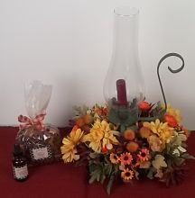 Fall floral - hurricane lamp with candle