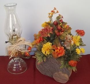 Handmade Barnwood box and pumpkin fall arrangement