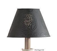 Punched Metal Black Star Lampshade  12""