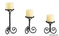 Scroll Pillar Candle Holders Set of 3
