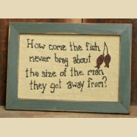 Wood Framed Stitchery - Fisherman Frame