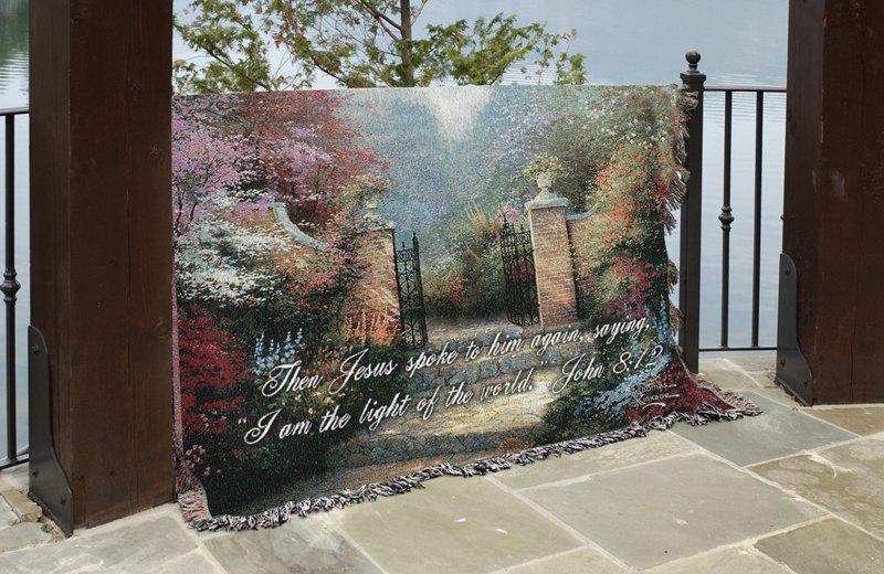 Victorian Garden Tapestry Throw w/verse