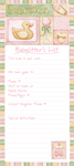 Baby Sitter List Pad - Girl