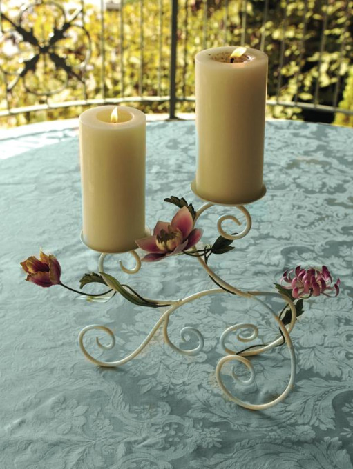 Stately Floral Metal Candle Holder