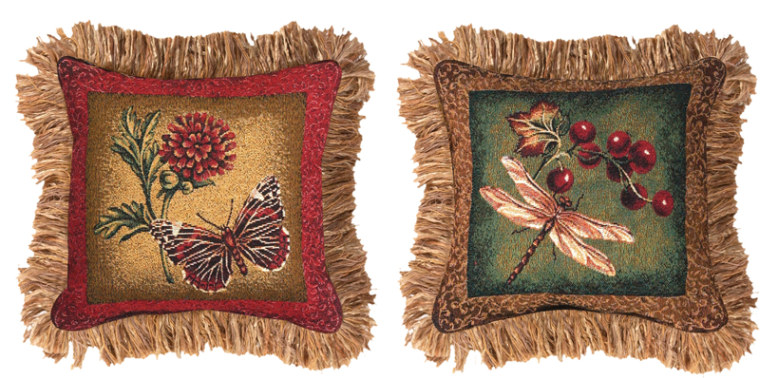 Floral & Fauna Pillow with Fringe